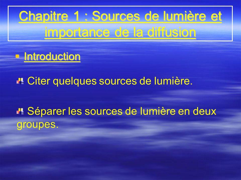 Chapitre 1 : Sources de lumière et importance de la diffusion