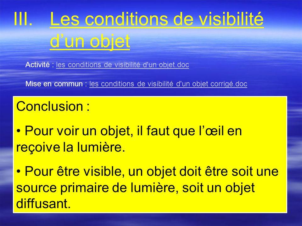 Les conditions de visibilité d'un objet