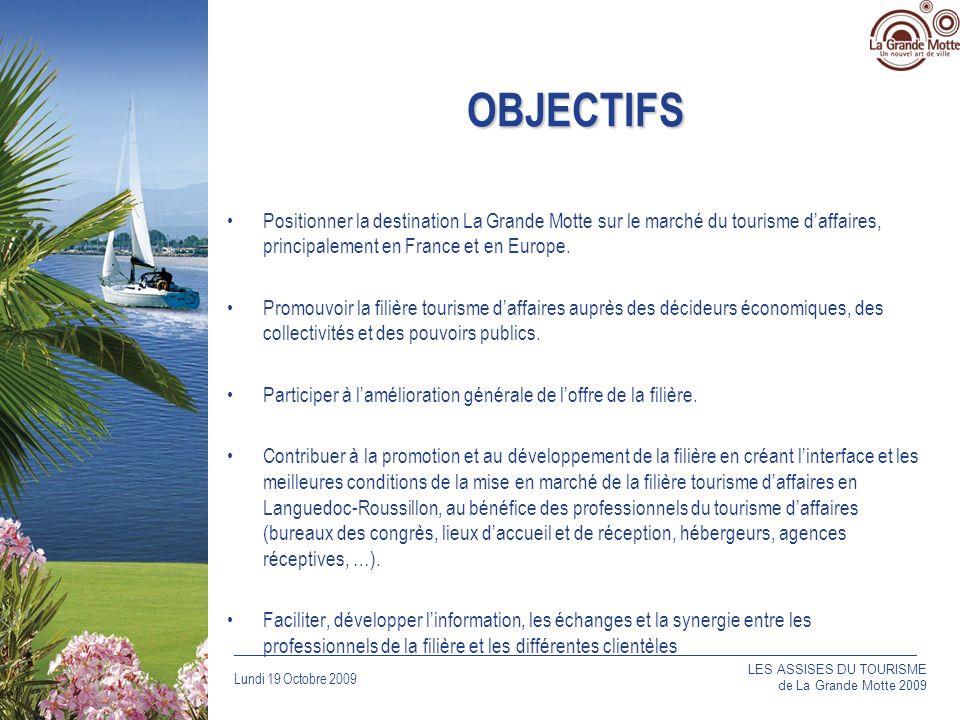 OBJECTIFS Positionner la destination La Grande Motte sur le marché du tourisme d'affaires, principalement en France et en Europe.