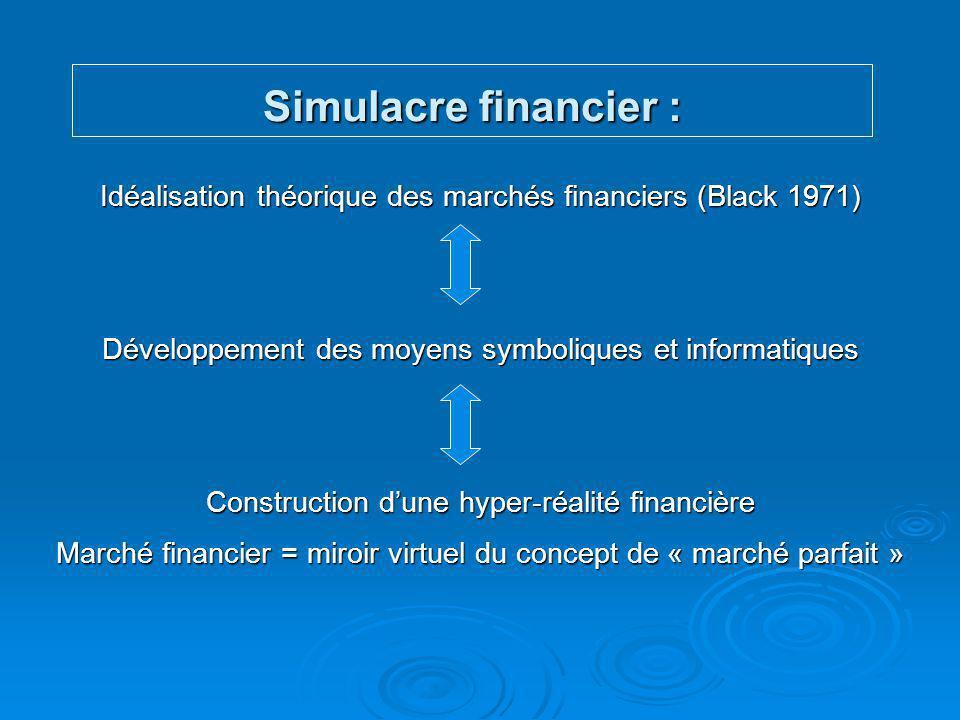 Simulacre financier : Idéalisation théorique des marchés financiers (Black 1971) Développement des moyens symboliques et informatiques.