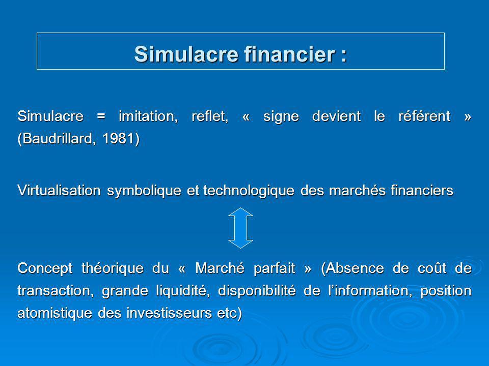 Simulacre financier : Simulacre = imitation, reflet, « signe devient le référent » (Baudrillard, 1981)