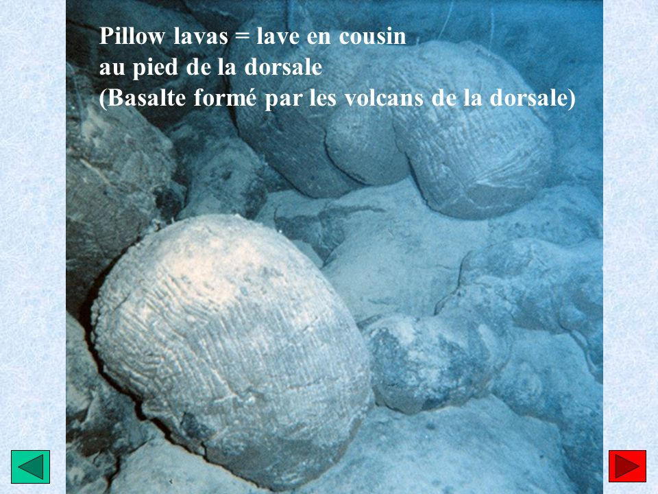Pillow lavas = lave en cousin