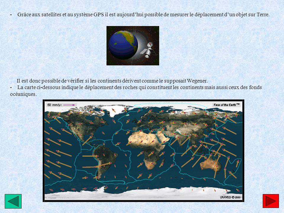 - Grâce aux satellites et au système GPS il est aujourd'hui possible de mesurer le déplacement d'un objet sur Terre.