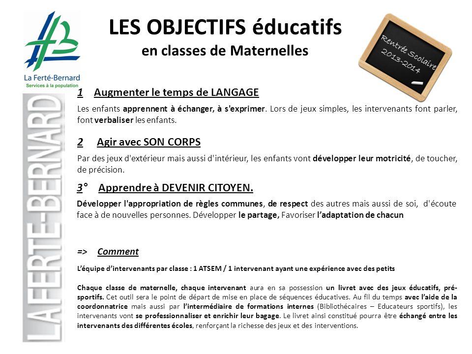 LES OBJECTIFS éducatifs en classes de Maternelles