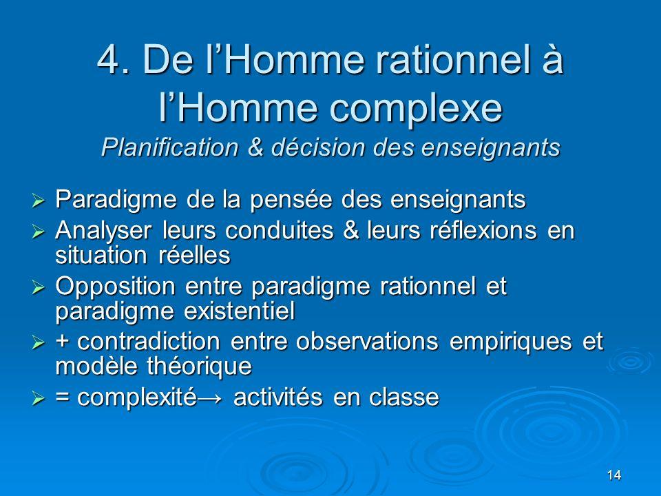 4. De l'Homme rationnel à l'Homme complexe Planification & décision des enseignants