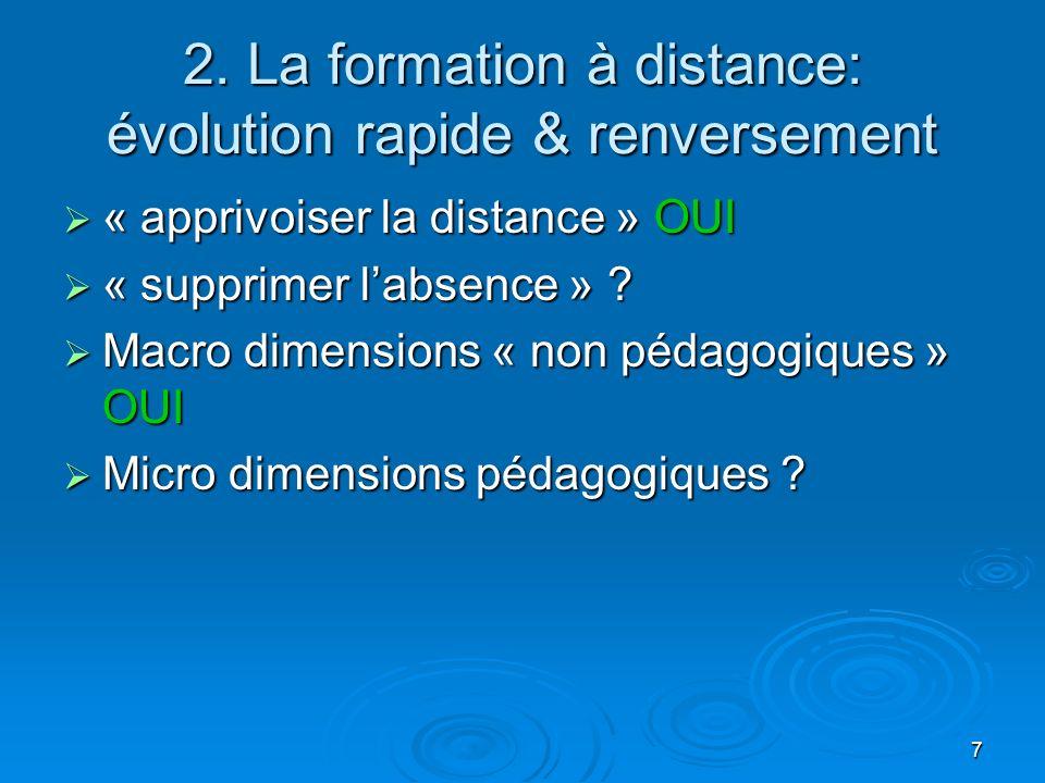 2. La formation à distance: évolution rapide & renversement