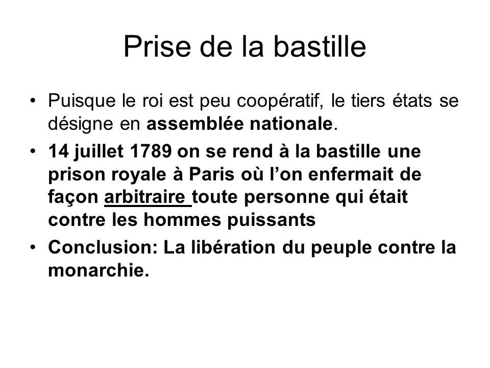 Prise de la bastille Puisque le roi est peu coopératif, le tiers états se désigne en assemblée nationale.