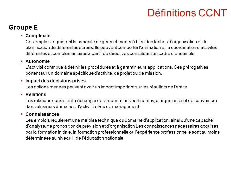 Définitions CCNT Groupe E