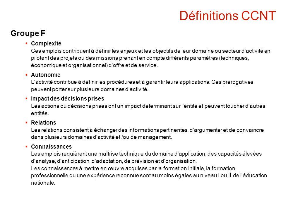 Définitions CCNT Groupe F