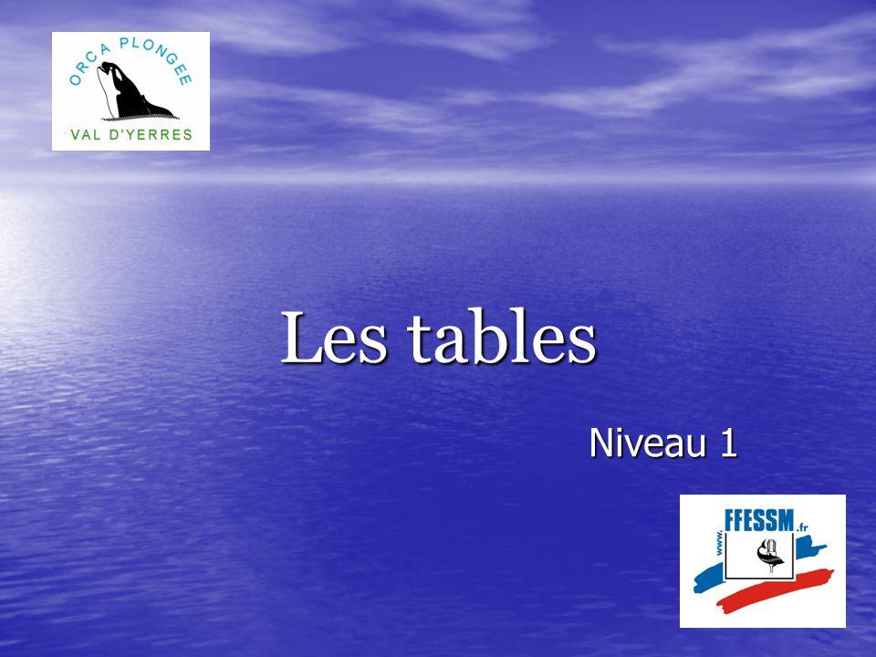 Les tables Niveau 1