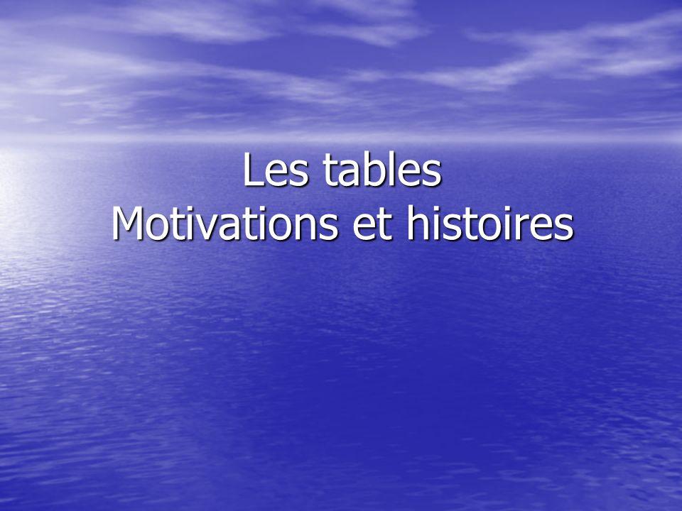 Les tables Motivations et histoires