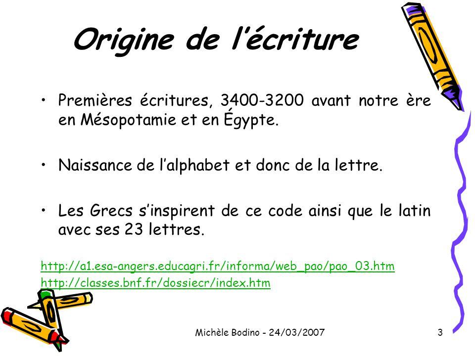 Origine de l'écriture Premières écritures, 3400-3200 avant notre ère en Mésopotamie et en Égypte. Naissance de l'alphabet et donc de la lettre.