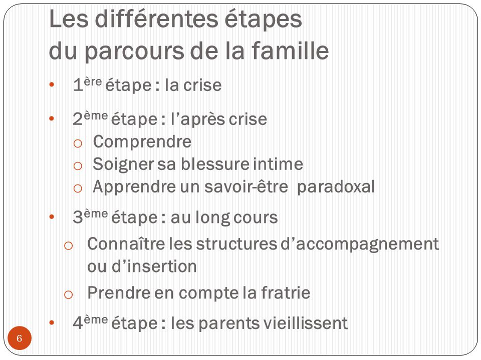 Les différentes étapes du parcours de la famille