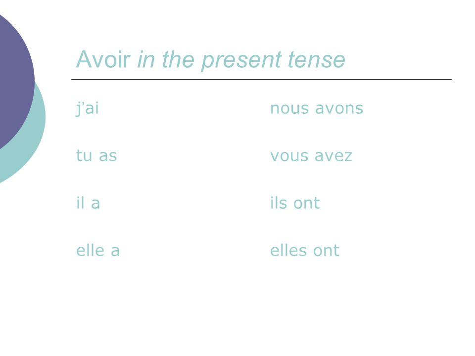 Avoir in the present tense