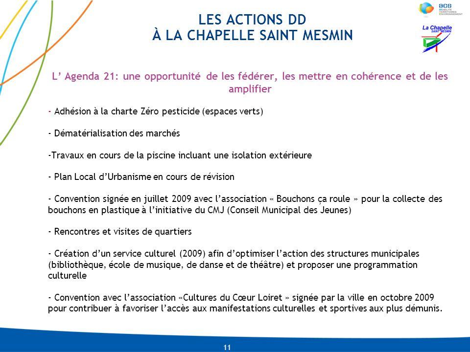 LES ACTIONS DD À LA CHAPELLE SAINT MESMIN