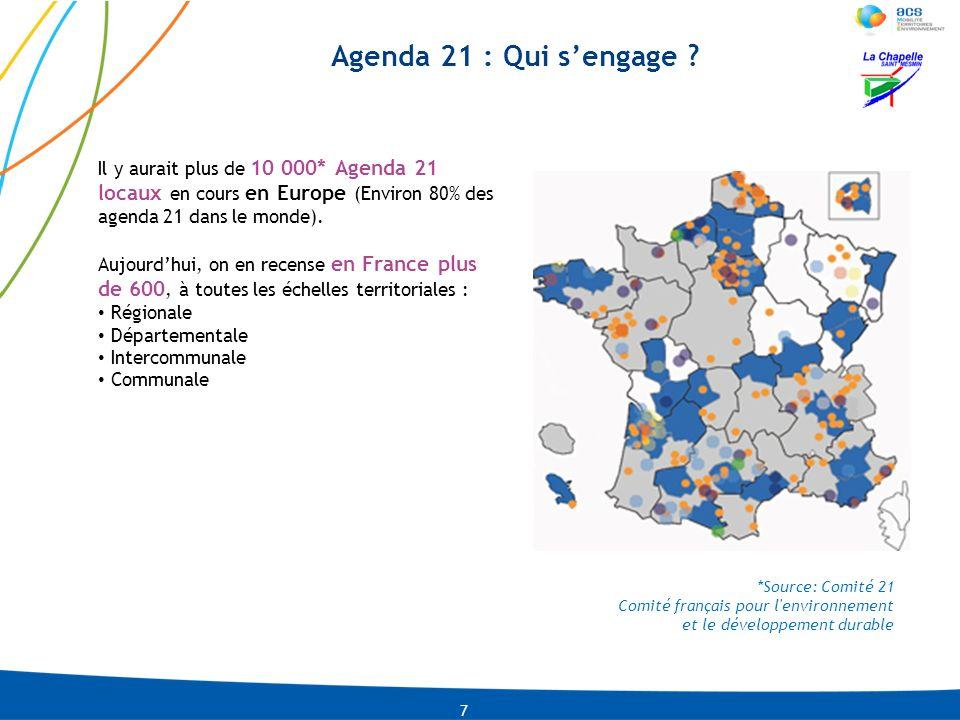 Agenda 21 : Qui s'engage Il y aurait plus de 10 000* Agenda 21 locaux en cours en Europe (Environ 80% des agenda 21 dans le monde).