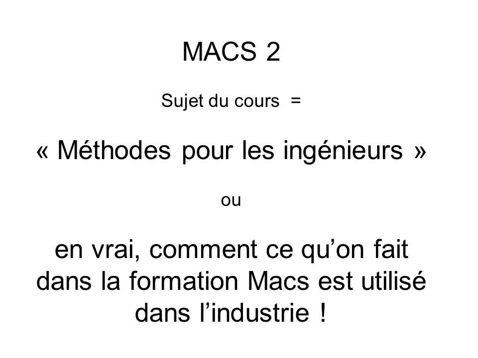 MACS 2 Sujet du cours = « Méthodes pour les ingénieurs » ou en vrai, comment ce qu'on fait dans la formation Macs est utilisé dans l'industrie !