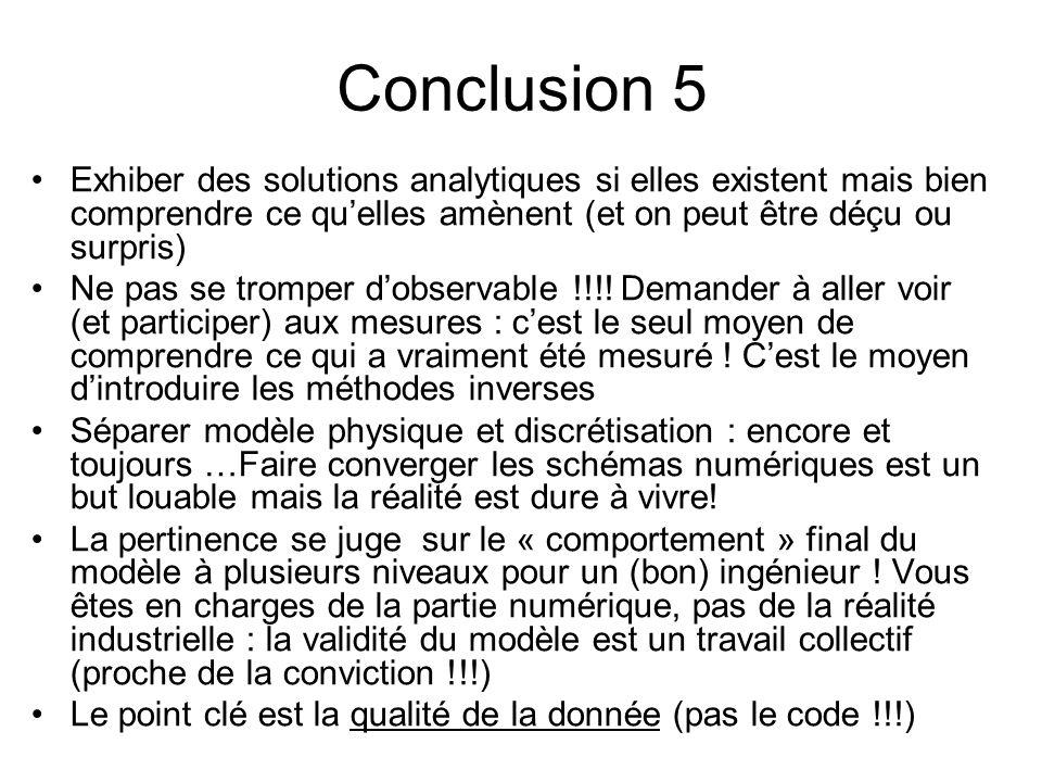 Conclusion 5 Exhiber des solutions analytiques si elles existent mais bien comprendre ce qu'elles amènent (et on peut être déçu ou surpris)