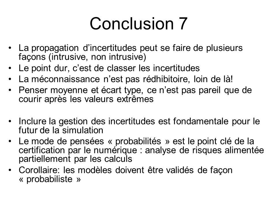 Conclusion 7 La propagation d'incertitudes peut se faire de plusieurs façons (intrusive, non intrusive)