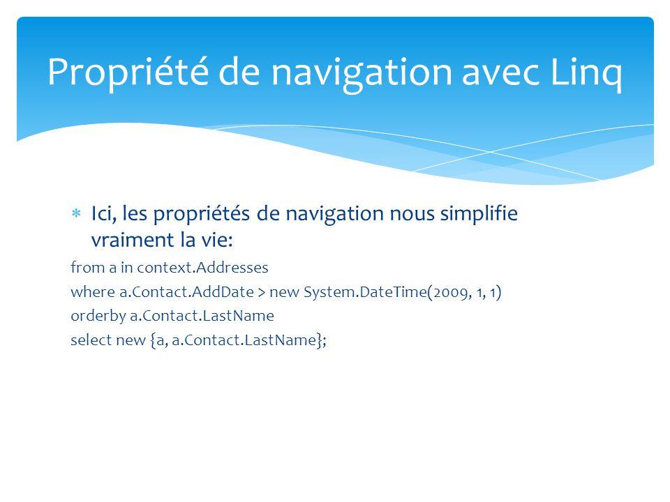Propriété de navigation avec Linq