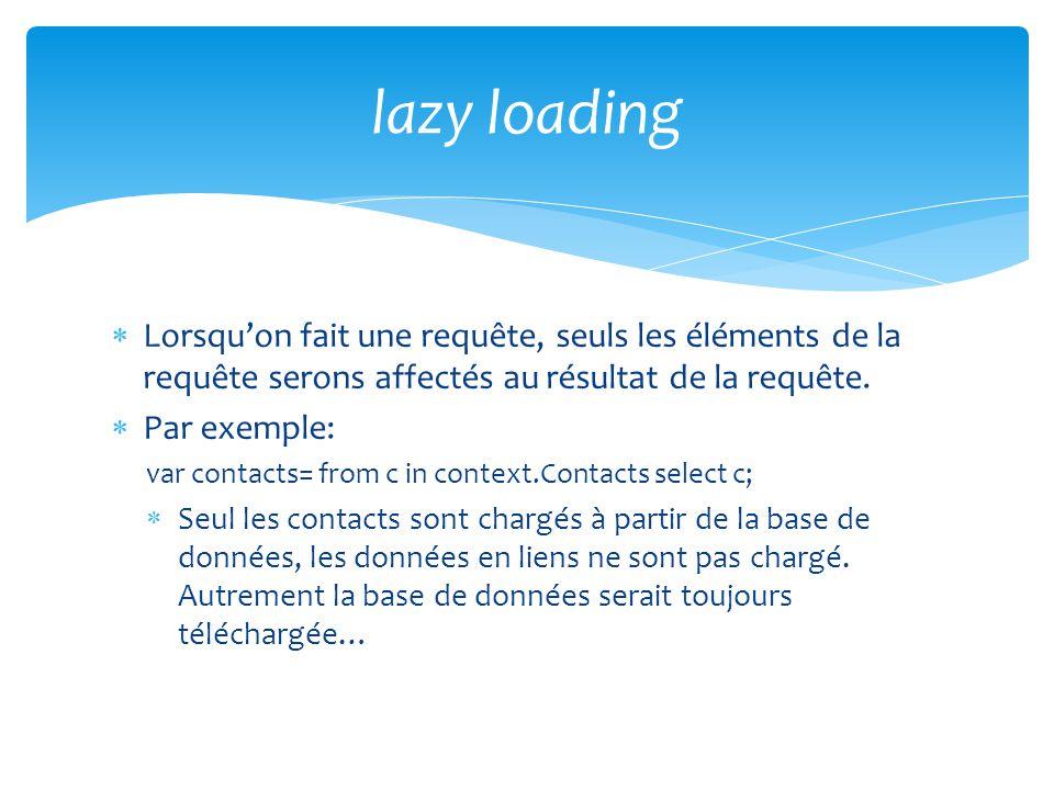 lazy loading Lorsqu'on fait une requête, seuls les éléments de la requête serons affectés au résultat de la requête.
