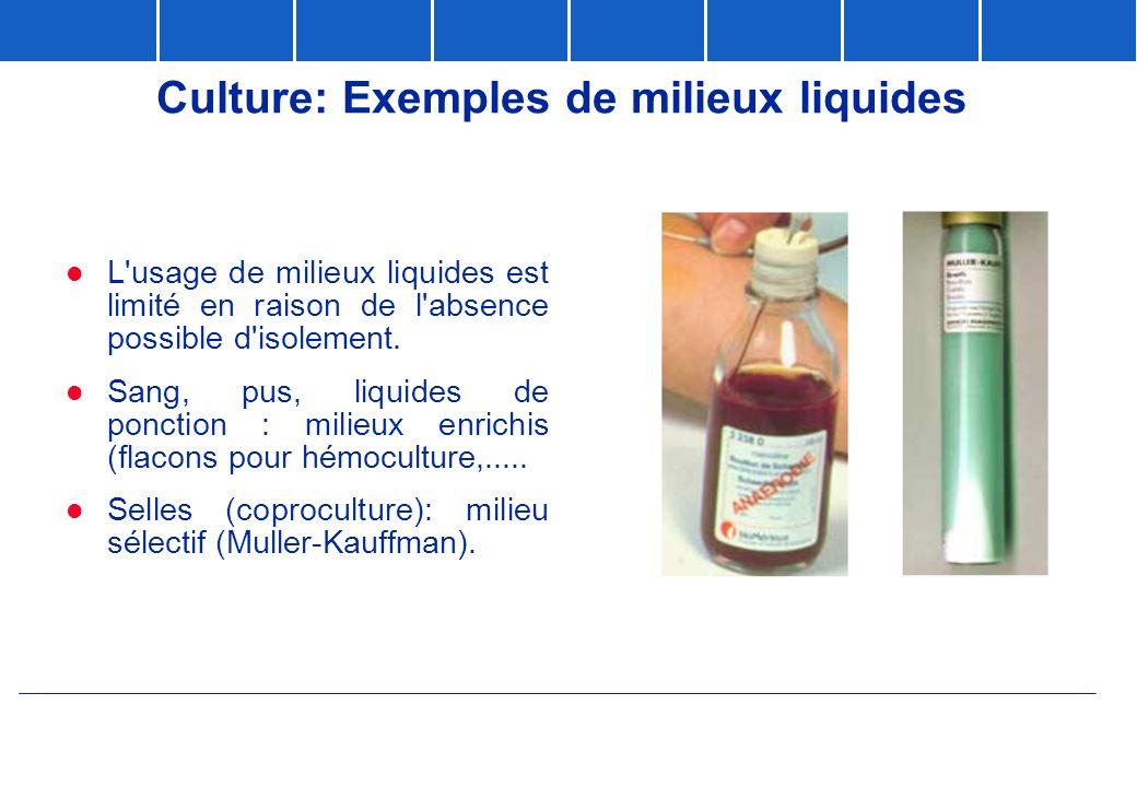 Culture: Exemples de milieux liquides