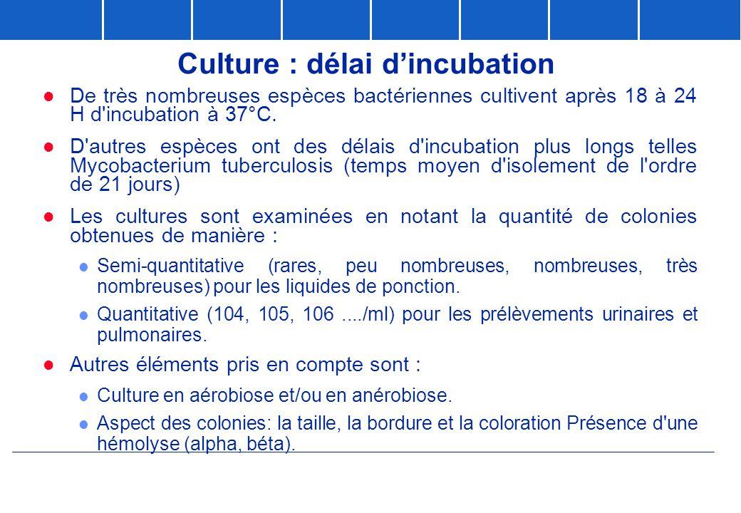 Culture : délai d'incubation
