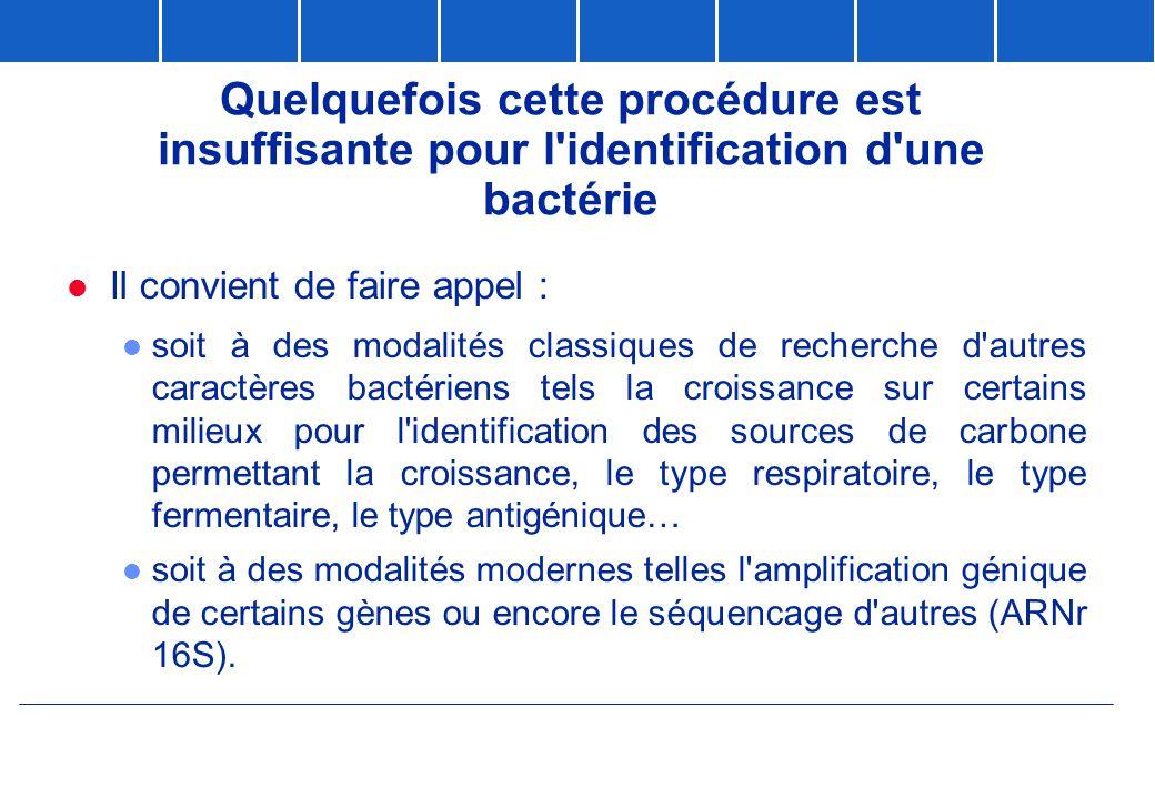 Quelquefois cette procédure est insuffisante pour l identification d une bactérie