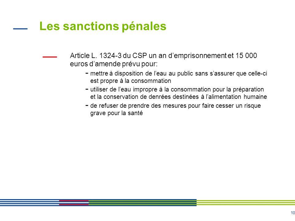 Les sanctions pénales Article L. 1324-3 du CSP un an d'emprisonnement et 15 000 euros d'amende prévu pour: