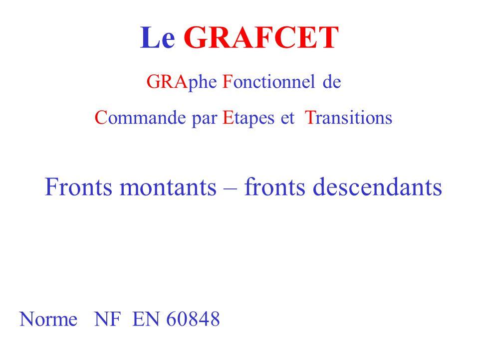 Le GRAFCET Fronts montants – fronts descendants Norme NF EN 60848
