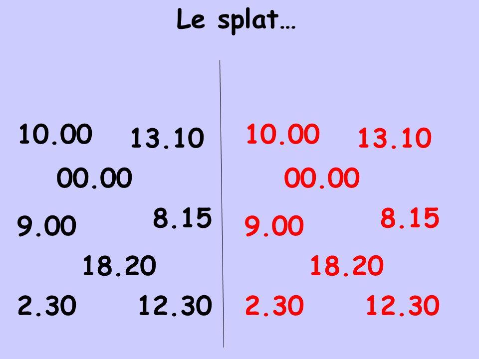 Le splat… 10.00 10.00 13.10 13.10 00.00 00.00 8.15 8.15 9.00 9.00 18.20 18.20 2.30 12.30 2.30 12.30