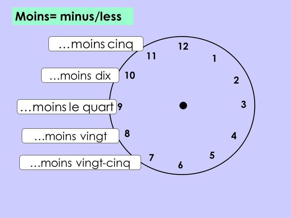 Moins= minus/less …moins cinq …moins le quart …moins dix …moins vingt