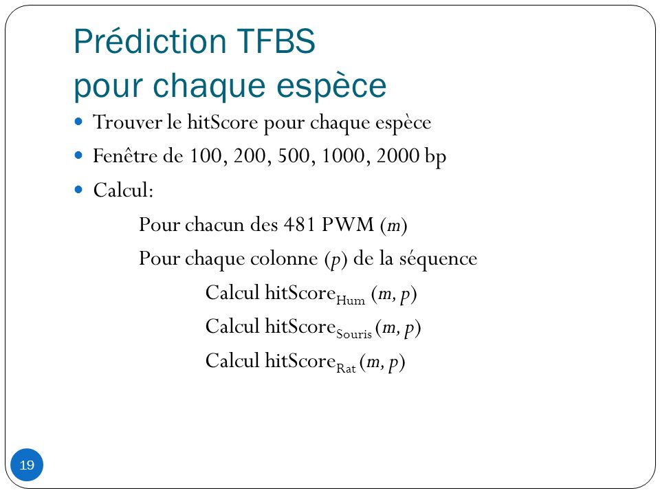 Prédiction TFBS pour chaque espèce