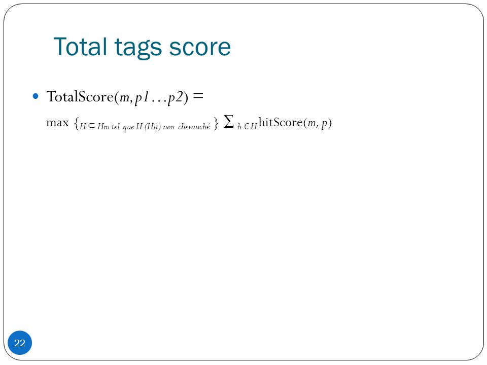 Total tags score TotalScore(m, p1…p2) =