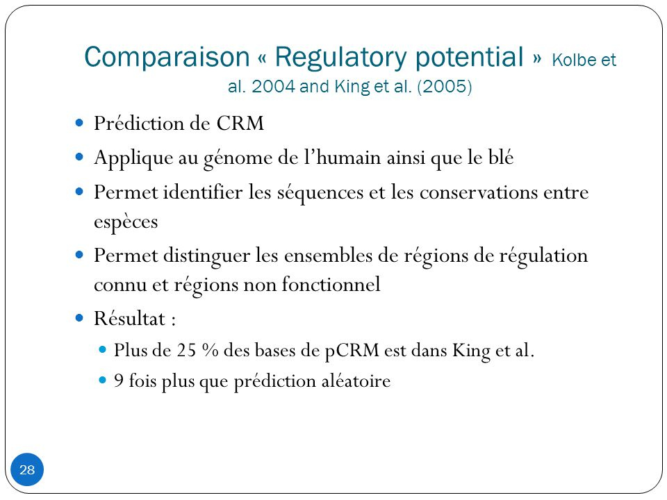 Comparaison « Regulatory potential » Kolbe et al. 2004 and King et al