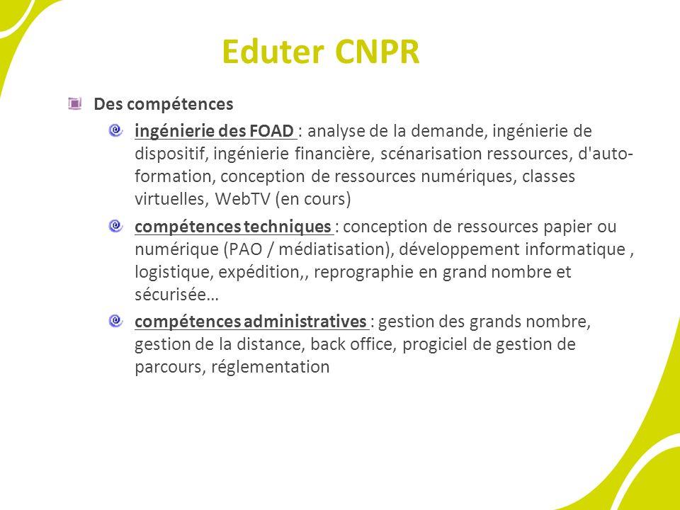 Eduter CNPR Une organisation : Une organisation spécifique à la gestion des FOAD sans distinction du genre.