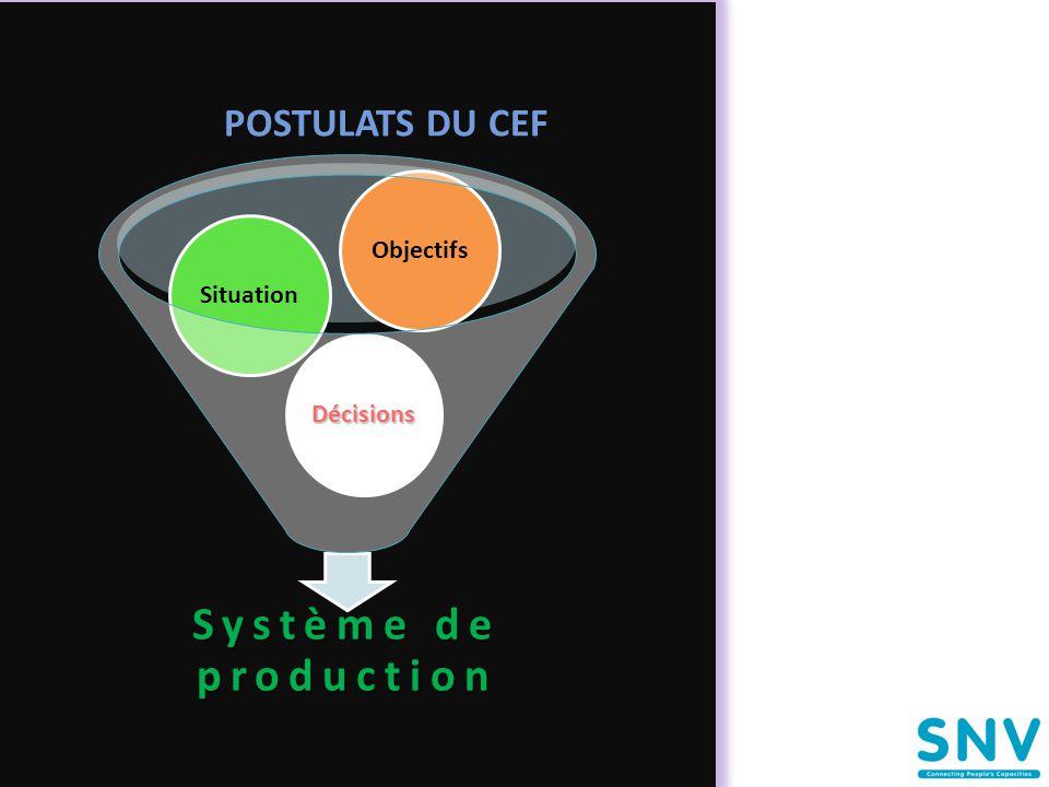 POSTULATS DU CEF Système de production Décisions Situation Objectifs