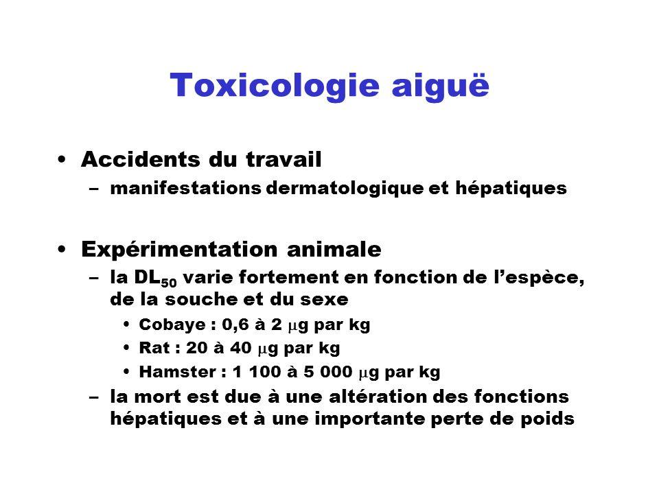 Toxicologie aiguë Accidents du travail Expérimentation animale