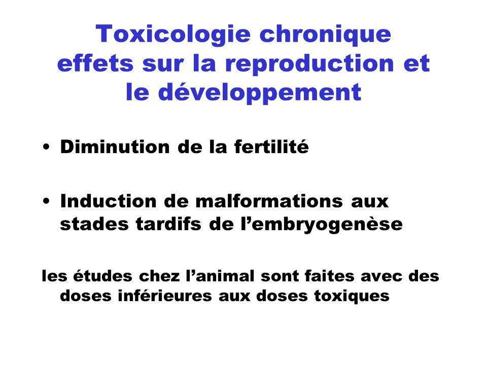 Toxicologie chronique effets sur la reproduction et le développement