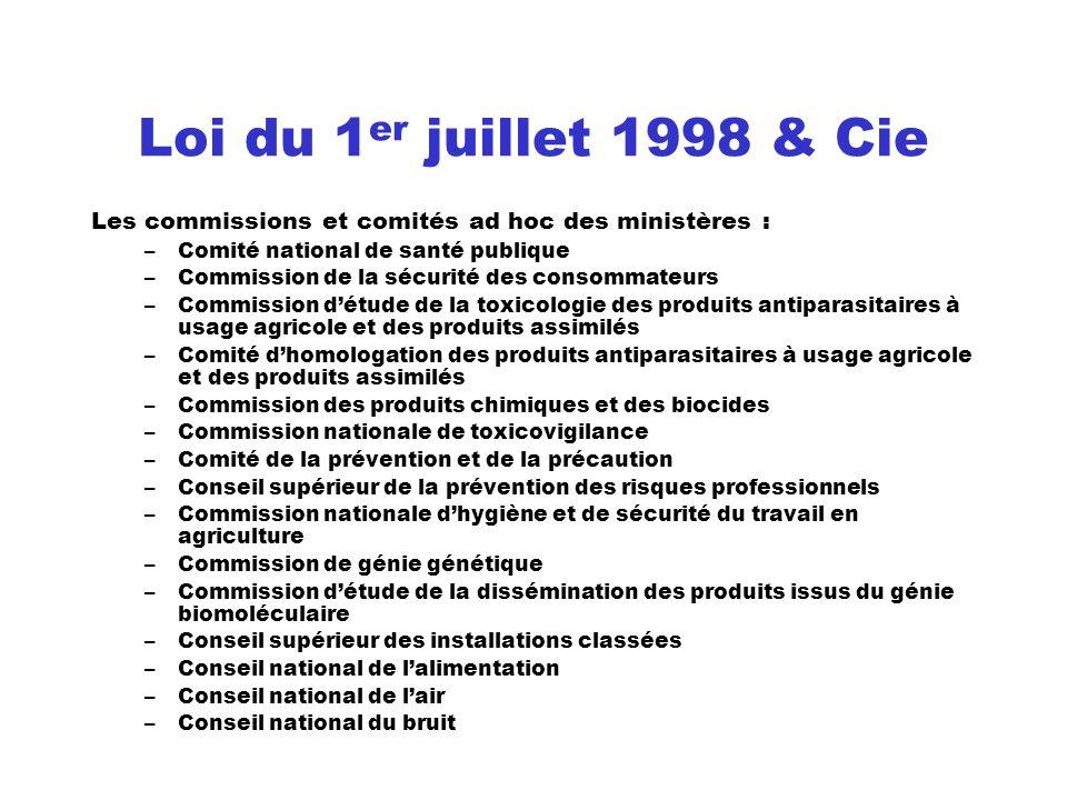 Loi du 1er juillet 1998 & Cie Les commissions et comités ad hoc des ministères : Comité national de santé publique.