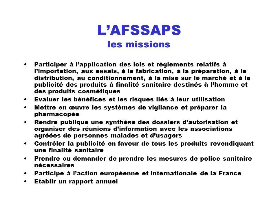 L'AFSSAPS les missions
