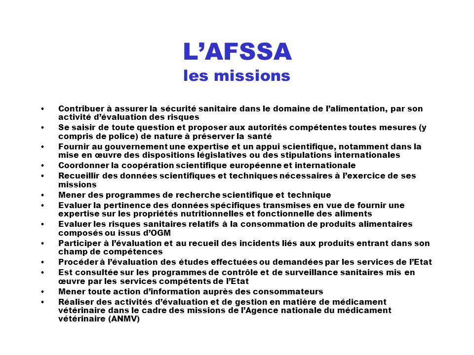 L'AFSSA les missions Contribuer à assurer la sécurité sanitaire dans le domaine de l'alimentation, par son activité d'évaluation des risques.