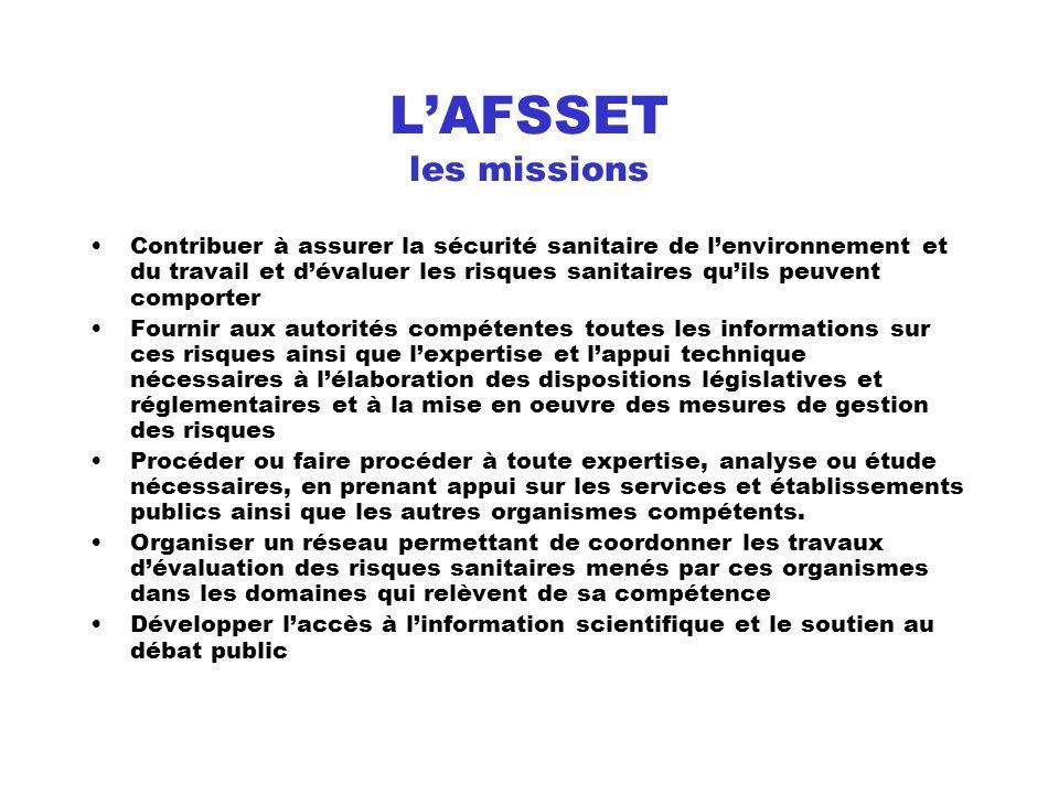 L'AFSSET les missions