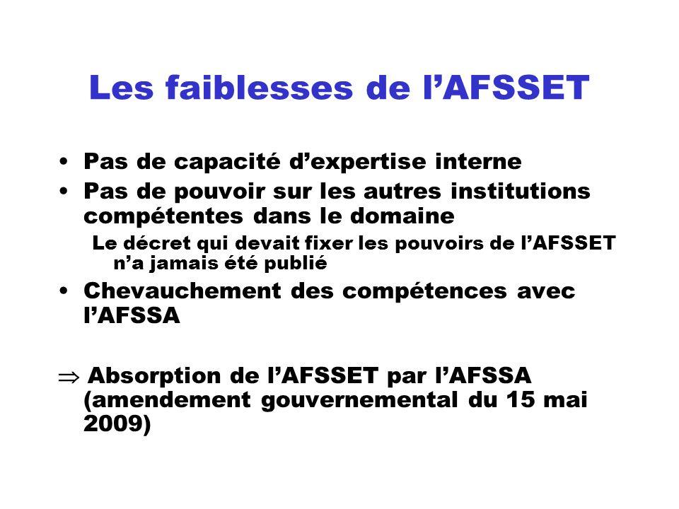 Les faiblesses de l'AFSSET