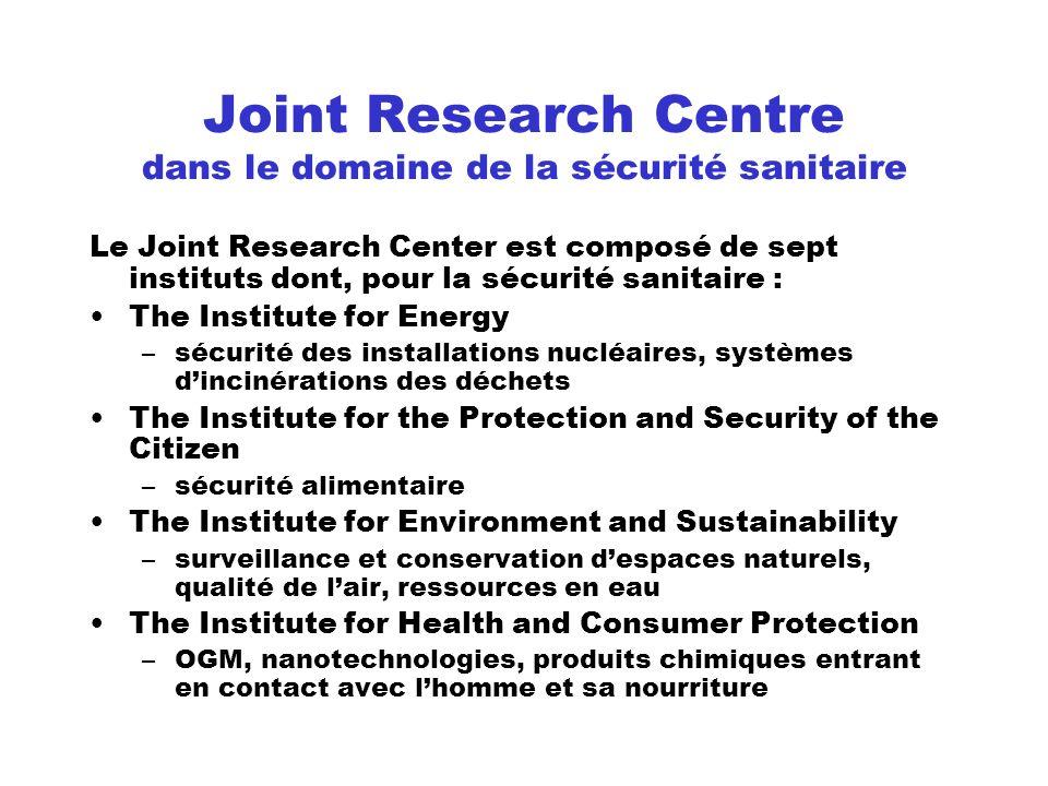 Joint Research Centre dans le domaine de la sécurité sanitaire