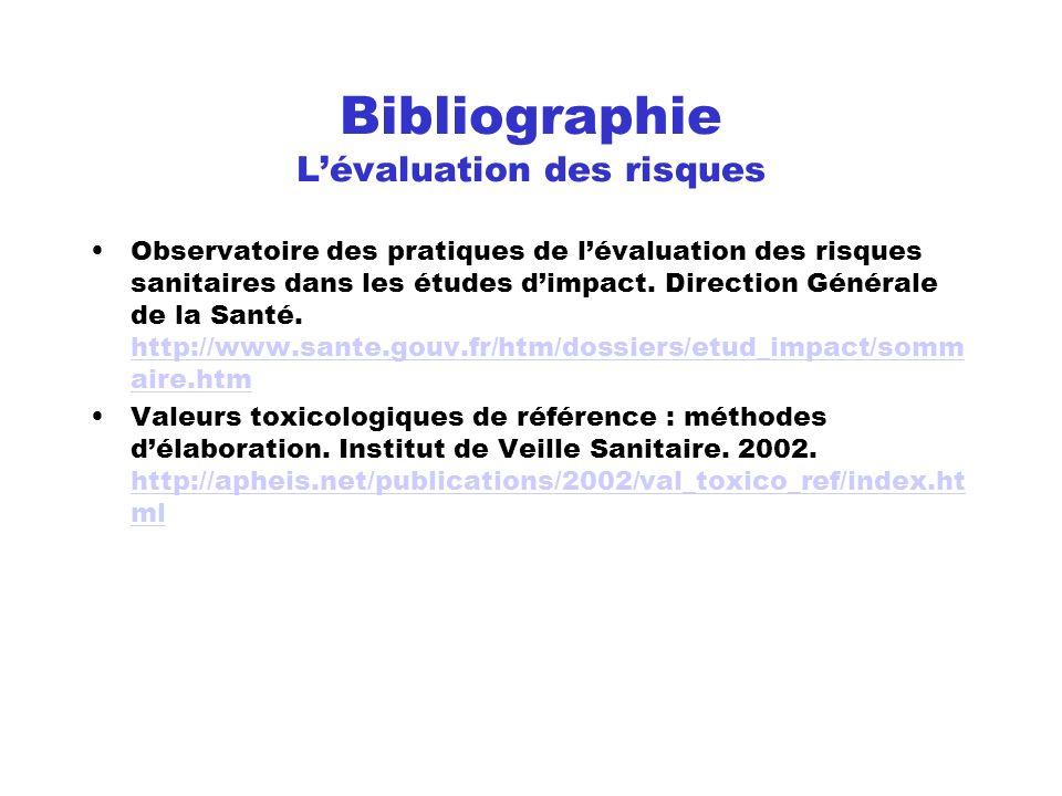 Bibliographie L'évaluation des risques