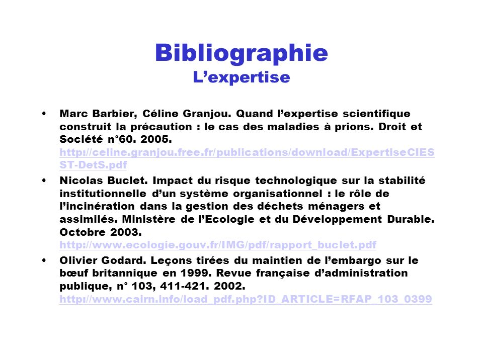 Bibliographie L'expertise