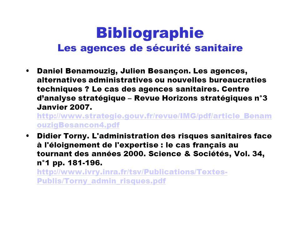 Bibliographie Les agences de sécurité sanitaire
