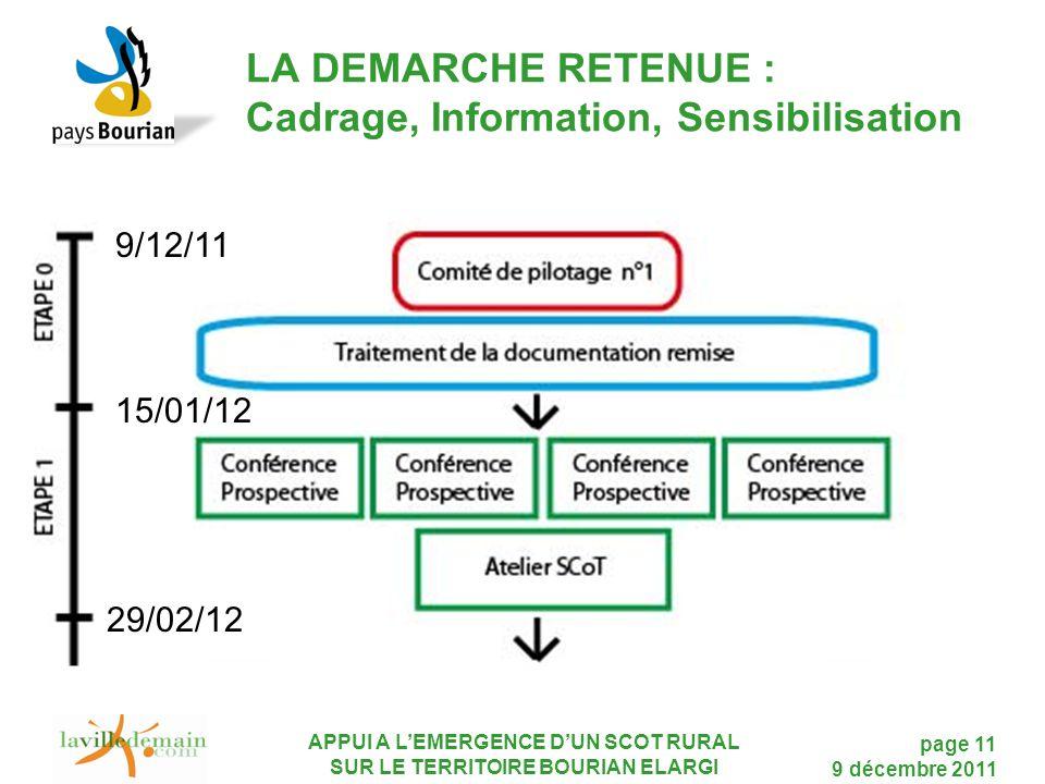 LA DEMARCHE RETENUE : Cadrage, Information, Sensibilisation