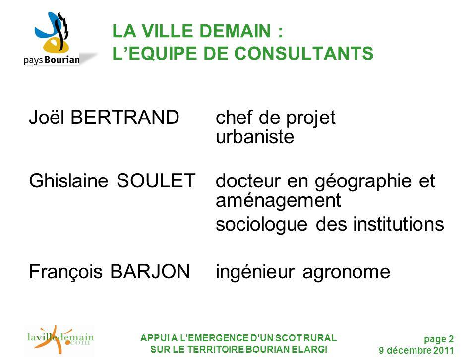 LA VILLE DEMAIN : L'EQUIPE DE CONSULTANTS